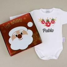 Body personalizado navidad bolas + cajita regalo