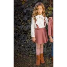 Conjunto falda tirantes rosa + blusa lazo