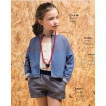 Short lino azul + blusa tirantes raspas