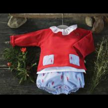 Jersey rojo bolsillo plumas + pololo