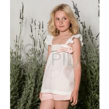 Conjunto blusa tiranta rayas oro y short rosa