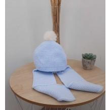Gorro con bufanda liso celeste