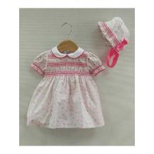 Vestido + capota smock dalia rosa