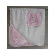 Capa baño + babero oso rosa