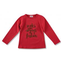Camiseta niña roja letras bronce