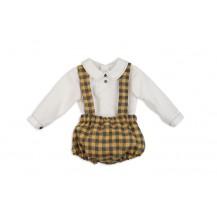 Ranita niño con tirantes mostaza y blusa