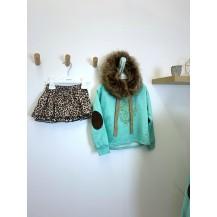 Conjunto leopardo sudadera + braguita falda