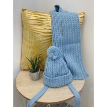 Conjunto dos piezas gorro + bufanda ochos azulado