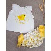 Conjunto camiseta + braguita pollitos
