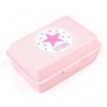 Cajita Porta Alimentos Estrella Rosa personalizada