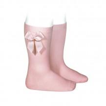 Calcetin alto algodón con lazo lateral  526 rosa palo