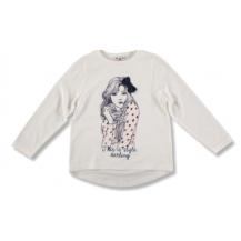 Camiseta crudo cara niña con lazo