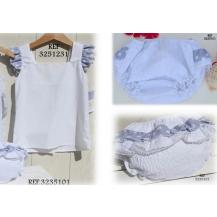 Conjunto blusa blanca volante hombro y culetin 2 volantes