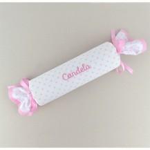 Cojin antivuelvo caramelo estrellas rosa personalizado