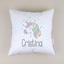Cojin unicornio cuadrado piqué personalizado