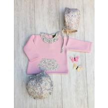 Conjunto sudadera + cubre (sin capota) bolsillo liberty rosa