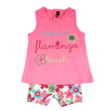 Conjunto niña leggins corto flores y camiseta coral
