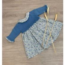 Vestido combinado flores liberty azul