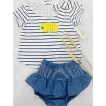 Conjunto camiseta pez + braguita falda