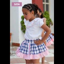 Conjunto blusa + falda cuadros rosa y azul