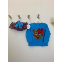 Conjunto sudadera + braguita leopardo azul