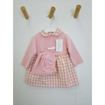 Vestido combinado cuadros rosa + capota