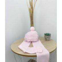 Gorro con bufanda  lazo rosa