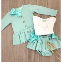 Sudadera + camisa + braguita verde agua