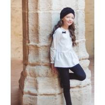 Camisa blanca y negra volante