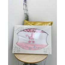Juego de sábanas cuna franela rosa