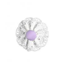 Flor bordada lila con pinza