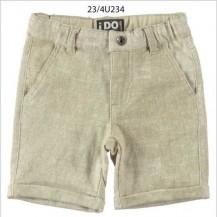Pantalón corto punto liso blanco y beige