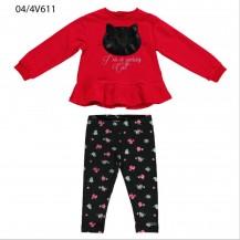 Conjunto leggins + sudadera rojo y negro gato