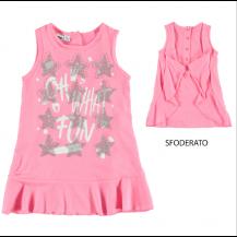 Vestido sin mangas rosa estrellas plata