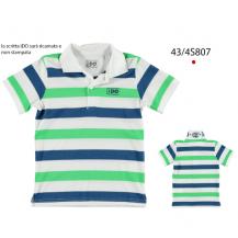 Polo manga corta rayas royal - blanco - verde