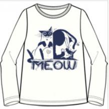 Camiseta manga larga crudo gato azul