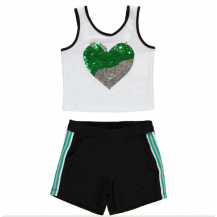 Camiseta + short corazon verde