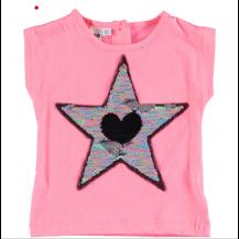 Camiseta estrella lentejuelas rosa chicle