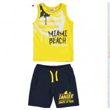 Conjunto camiseta + bermuda miami amarillo