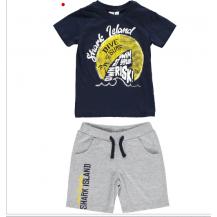 Conjunto camiseta y bermuda marino y gris risk