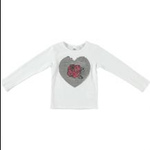 Camiseta corazón plata lentejuelas