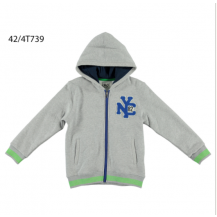 Sudadera gris detalles azul y verde con cremallera y capucha