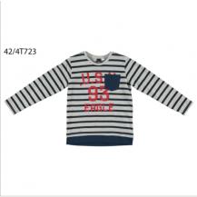 Camiseta manga larga gris, marino y roja