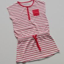 Vestido sport rayas blanco y rosa