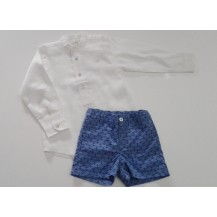 Conjunto camisa lino cuello mao blanca y pantalón chino anclas azul