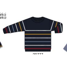 Jersey tricot azul rayas mostaza