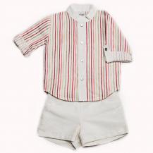 Conjunto pantalón crudo y camisa rayitas rosa y beige