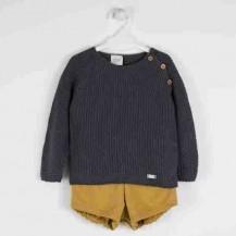 Conjunto bombacho mostaza y suéter punto arroz gris
