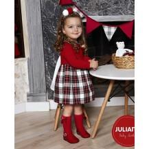 Vestido combinado cuadro escocés rojo