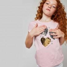 Camiseta corazones lentejuelas reversibles rosa